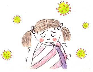 Illustration d'un livre pour enfants sur le coronavirus : une fille se sent malade