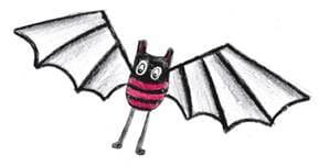 Illustration d'un livre pour enfants sur le coronavirus : une batte