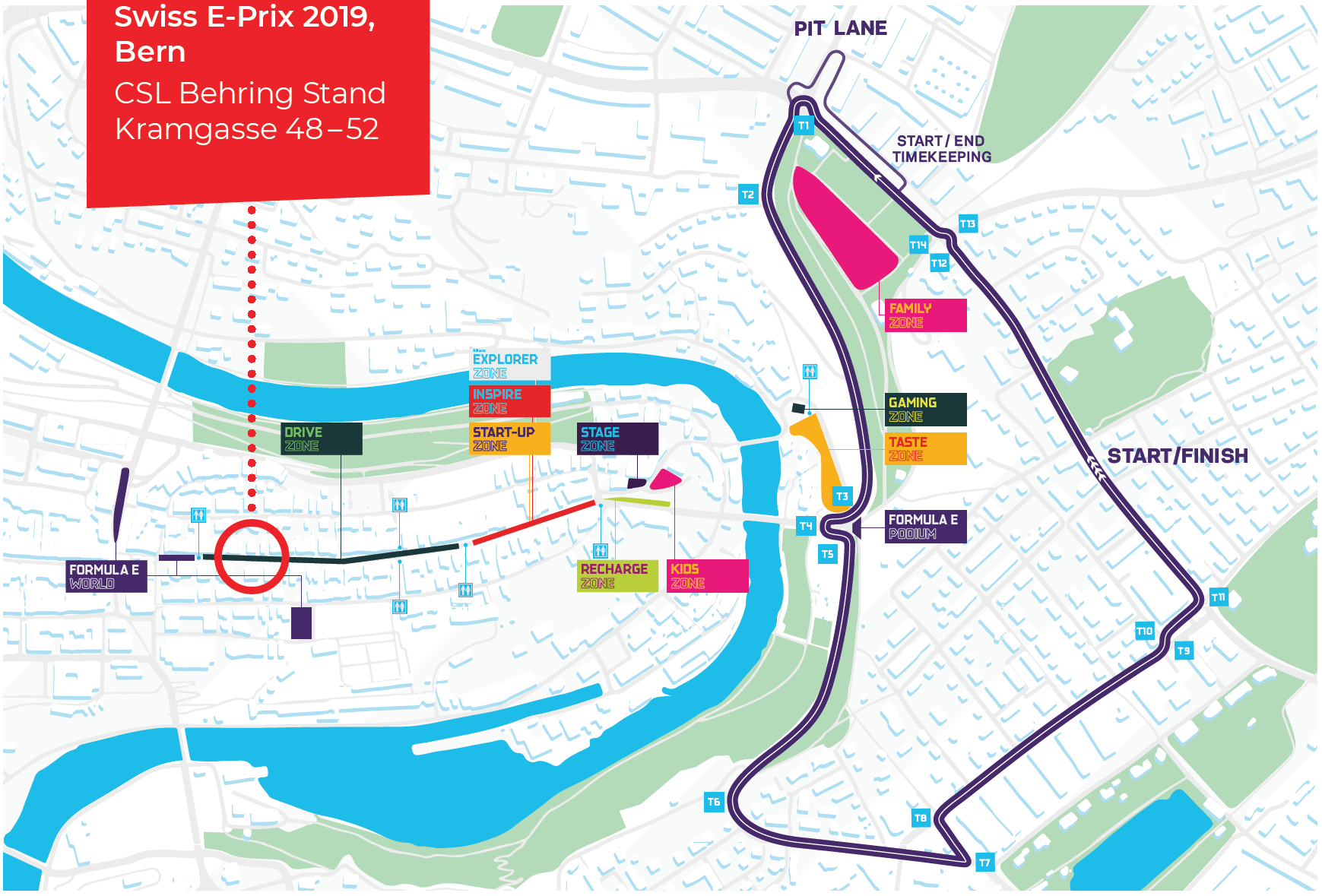 Sitemap of the  Swiss E-Prix in Bern, taking place 22 June 2019